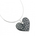 Grey Polka Heart Necklace
