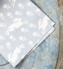 Grey running hare napkins - set of 4