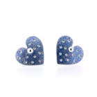 Light Blue Polka Heart Studs