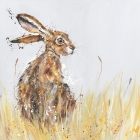 Meadow Hare Turning - Small Framed Print