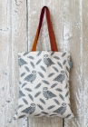 Owl And Feather Pattern Grey/Orange Canvas Bag