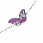 Pink Floral & Yellow Spot Butterfly Necklace