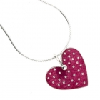 Polka Heart Necklace - Pink