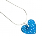 Polka Heart Necklace - Turquoise