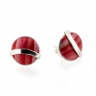 Red Curve Studs