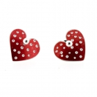 Red Polka Heart Studs