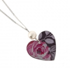 Round heart & pearl necklace