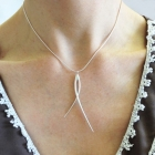 Silver drop strand necklace