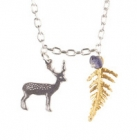 Small Stag and Fern Necklace
