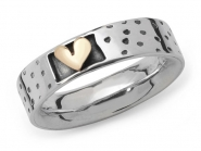 Spotty Ring with Raised Gold Heart