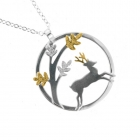 Stag & Leaves Pendant 21 inch belcher chain
