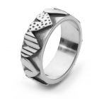 Stripy Heart Wide Ring