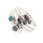 Three Stone Ring Blue Topaz