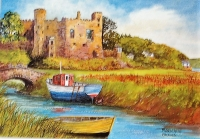 Laugharne Castle and Dylan Thomas's Boathouse Print