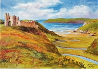 Three Cliffs Bay and Pennard Castle Print