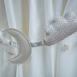 Silver Cross To The Moon & Back Curtain Tie Backs