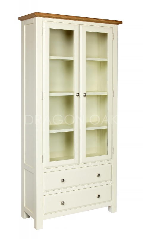 Country cream glass display cabinet glass display for Cupboards and cabinets