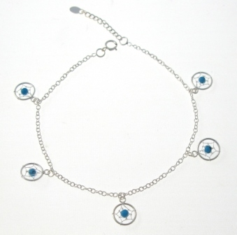 lisa catcher silver dream angel sterling anklet dreamcatcher turquoise and