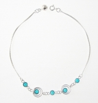 A46 Silver teal anklet