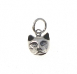 CM60 Silver cat head charm