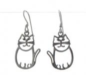 E10 Silver cat earrings