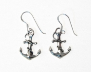 E102 Silver Anchor Earrings