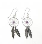 E107am Silver amethyst dreamcatcher earrings