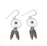 E107t silver turquoise dreamcatcher earrings
