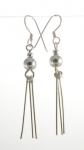 E135  dangly ball with silver strands40x6