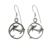 E18 Silver dolphin earrings