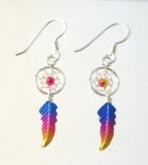 E190 Sterling Silver coloured dreamcatcher earrings