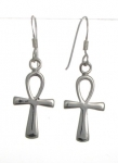 E38 Silver ankh earrings