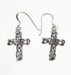 E47 detailed cross earrings