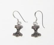 E49 Silver thors hammer earrings