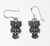 E66 Silver Owl Earrings