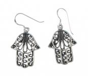 E73 Silver Hand of Fatima Earrings
