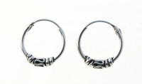 H17- 5 pairs Silver balinese hoops