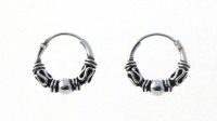 H24- 5 pairs Silver balinese hoops