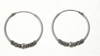 H39 Silver balinese hoops