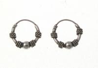 H40- 5 pairs Silver balinese hoops