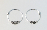 H48 Silver Balinese Hoops (sold in 5 Pairs)
