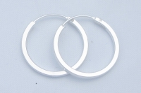H53- 5 pairs silver square edged hoops