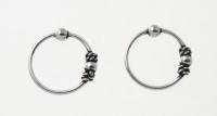 H63- 5 pairs silver balinese hoops
