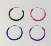 H67 5 pairs coloured silver hoops