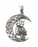 WP157 Owl on moon pendant