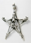 P162 Skeleton on pentagram pendant