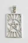 P182 Pentagram in rectangle pendant