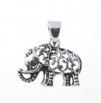 P194 silver filigree elephant pendant