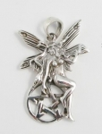 P237 Fairy sitting on pentagram pendant