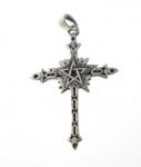 P342 Silver pentagram cross pendant